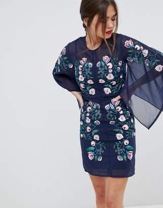 Frock and Frill kimono sleeve shift dress with embroidered detail