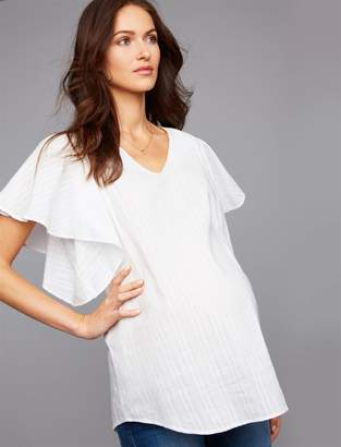 Ingrid & Isabel Ruffle Sleeve Maternity Blouse
