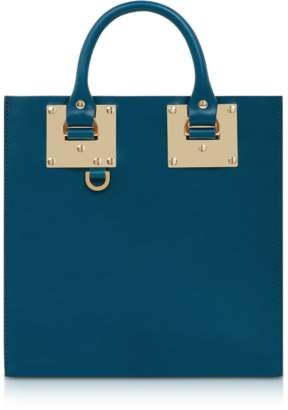 Sophie Hulme Blue Canard Square Leather Tote