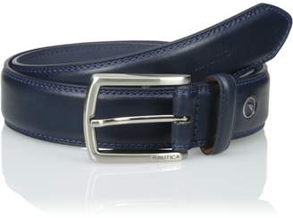Nautica Men's Feathered Edge with Double Stitch Casual Leather Belt