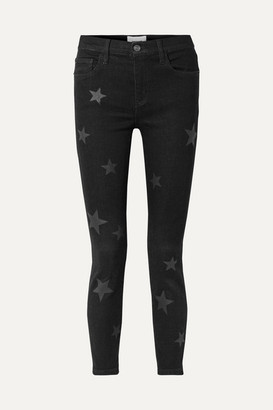 Current/Elliott The Stiletto Printed High-rise Skinny Jeans - Black