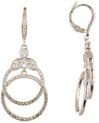 Judith Jack Sterling Silver Swarovski Pave Double Ring Drop Earrings