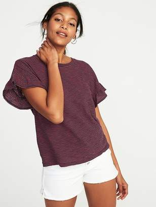 Old Navy Ruffle-Sleeve Slub-Knit Top for Women