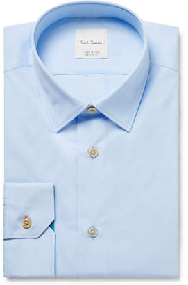 Paul Smith Light-Blue Slim-Fit Cotton-Poplin Shirt - Light blue
