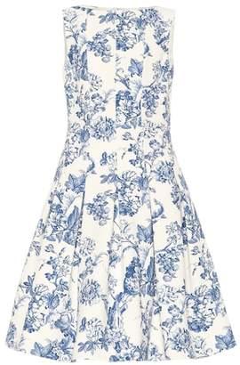 Oscar de la Renta Floral stretch cotton toile dress