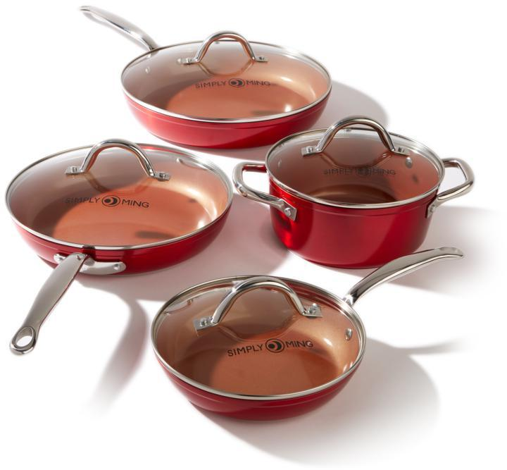 Ming Tsai Simply Ming Ceramic Nonstick 8-piece Cook Set in Vibrant Color