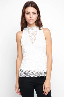 Red Haute Mock Neck Sleeveless Lace Tank Top