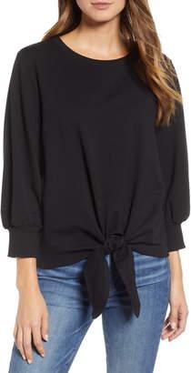 &.Layered Tie Front Sweatshirt