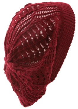 Burgundy Open-Knit Beret