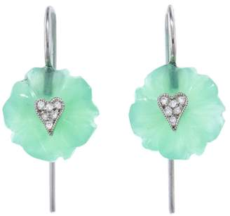 Cathy Waterman Chrysoprase Flower Diamond Heart Earrings - Platinum