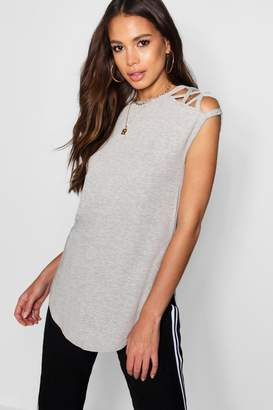 boohoo Tall Strappy Shoulder Sleeveless Rib Top