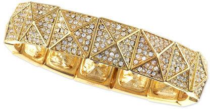 R.J. Graziano Gold Pave Pyramid Bangle, 1/2