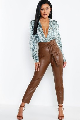 boohoo Leather Look Paperbag High Waist Trousers