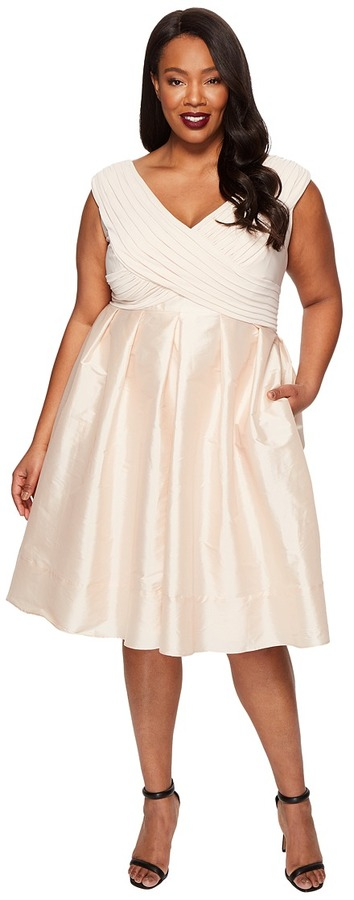 Adrianna Papell Adrianna Papell - Plus Size Fit and Flare Taffeta Skirt and Draped Matte Jersey Bodice Women's Skirt