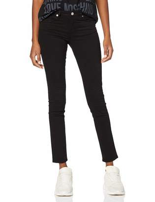 Love Moschino Women's Kisses Print On Back Pocket_Push-fit Denim Trousers Black C74 W28 (Size: 28)
