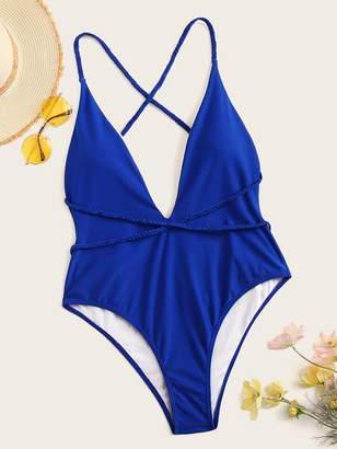 Shein Plus Criss Cross Backless One Piece Swimwear