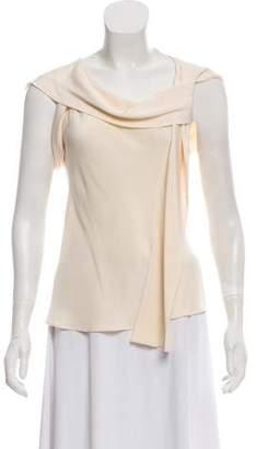 Derek Lam Silk Cowl Neck Cap-Sleeve Blouse