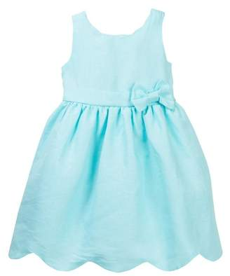 AVA AND YELLY Scalloped Hem Linen Dress (Little Girls)
