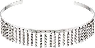 Steve Madden Open Collar with Chain Fringe Choker Necklace