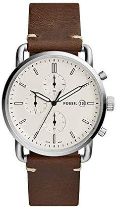 Fossil Men's 'The Commuter' Quartz Stainless Steel and Leather Casual Watch