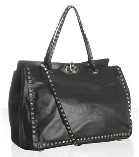 Valentino black leather 'Rockstud' convertible satchel
