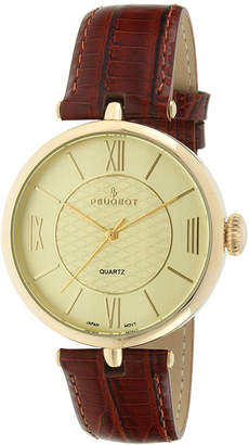 Peugeot Women's Gold Tone Brown Leather Strap Watch