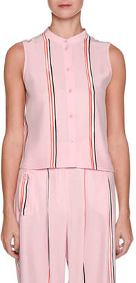 Emporio Armani Sleeveless Button-Front Silk Blouse with Sport-Stripe Trim