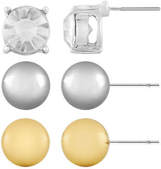 MONET JEWELRY Monet 3-pr. Crystal, Silver-Tone and Gold-Tone Stud Earring Set