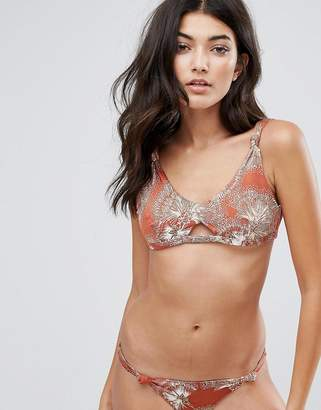 Somedays Lovin Knot Cut Out Printed Bikini Top