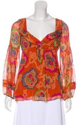 Diane von Furstenberg Floral Long Sleeve Top
