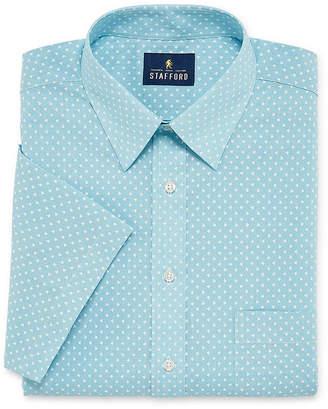 STAFFORD Stafford Travel Easy Care Broadcloth Short Sleeve Mens Point Collar Short Sleeve Stretch Dress Shirt
