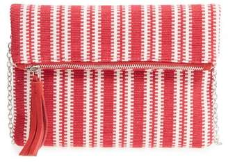 Street Level Stripe Woven Clutch