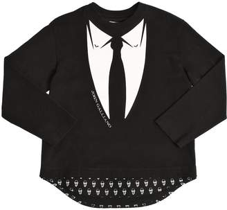 John Galliano Tie Print Cotton Jersey & Poplin T-Shirt