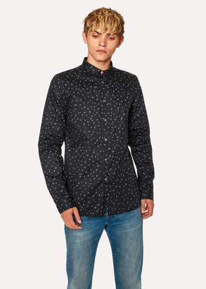 Paul Smith Men's Slim-Fit Dark Navy 'Ink Spot' Print Cotton Shirt