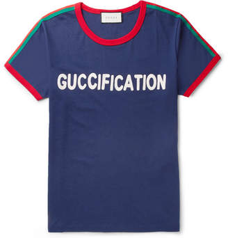 Gucci Slim-Fit Webbing-Trimmed Embroidered Cotton-Jersey T-Shirt