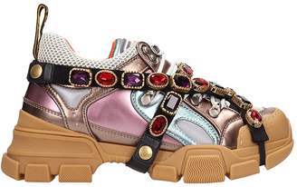 Gucci Flashtrek Mulicolor Leather And Fabric Sneakers