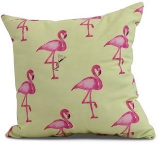 Simply Daisy, 16 x 16inch, Flamingo Fanfare Martini Animal Print Pillow, Light Green