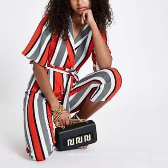 River Island Womens Red stripe wrap tie waist jumpsuit