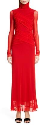 Fuzzi Wrap Effect Long Sleeve Maxi Dress