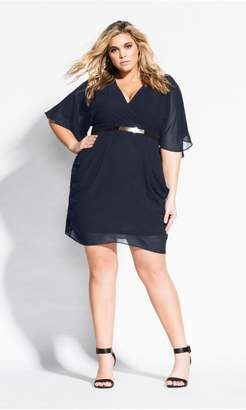 City Chic Colour Wrap Dress - navy