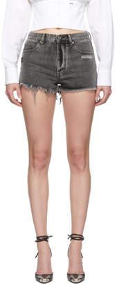 Off-White Off White Grey Denim Five-Pocket Shorts