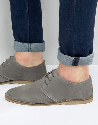 Asos Design Derby Shoes In Grey Suede With Piped Edging