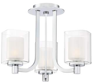 Quoizel Lighting KLT1715C Kolt - Three Light Semi-Flush Mount, Finish with Clear/Sand Blast Glass