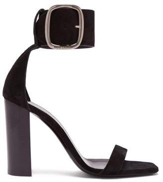 Saint Laurent Loulou Suede Buckle Sandals - Womens - Black