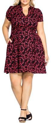 City Chic Plus Short-Sleeve Floral-Print Dress