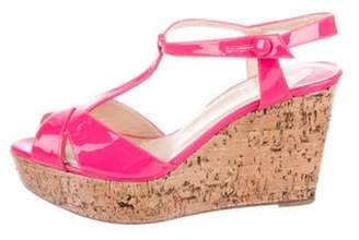 Christian Louboutin Patent Leather Wedge Sandals Neon Patent Leather Wedge Sandals