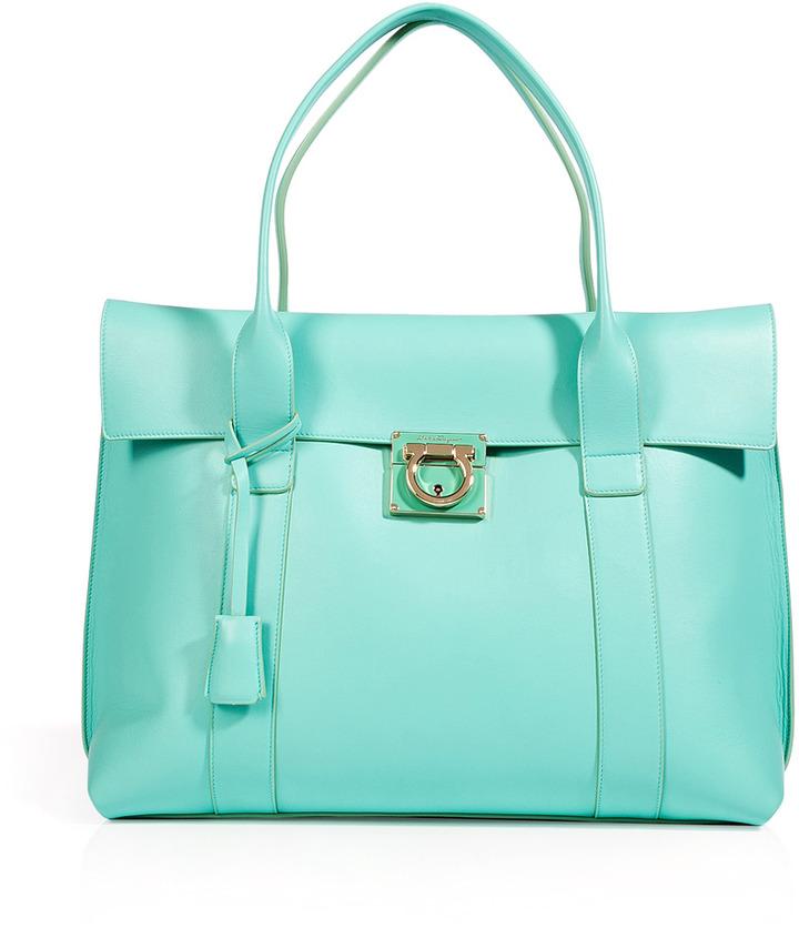 Salvatore Ferragamo Turquoise Leather Sookie Tote