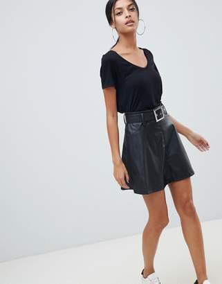 Asos DESIGN Leather Look Mini Skater Skirt with Belt Detail