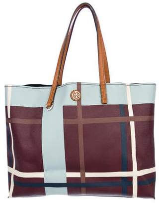 Tory Burch Leather-Trimmed Printed Coated Canvas Tote