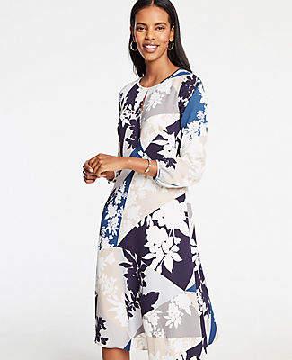 Ann Taylor Floral Keyhole Flare Dress